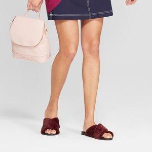 """Sz 9 Soft burgundy faux fur """"Frannie"""" sandals NWT"""